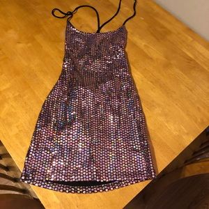Dresses & Skirts - Sequin, cries cross mini dress.